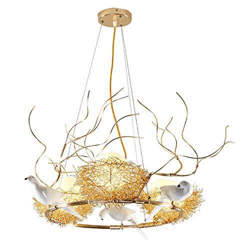 SB-63837, Nordic Simple Modern 3-Lampen-Kronleuchter, runde Vogelnest-Pendelleuchte aus Metall mit Kunstharzvogel, weiße Glasschirm-Pendelleuchten - Runde, Weiße Glasschirm