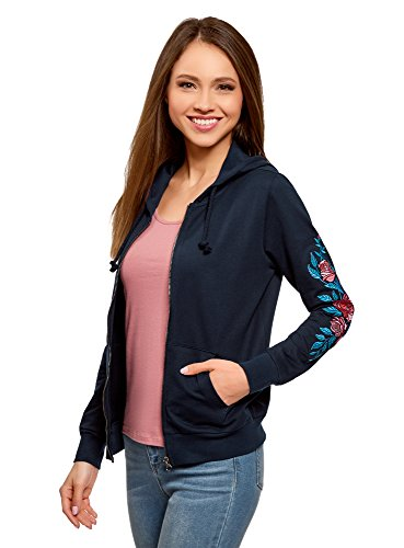 oodji Ultra Damen Kapuzenshirt mit Reißverschluss, Blau, DE 42 / EU 44 / XL (Sweatshirt Kapuzen Xl Jersey)
