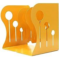 Sujetalibros metálico de hierro ajustable, soporte de escritorio resistente, antideslizante, tamaño mediano (amarillo)
