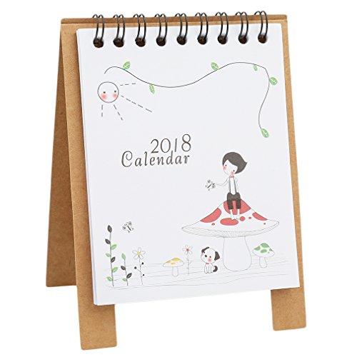 ein Kalender-2018Cute Cartoon Animal Schreibtisch Desktop Kalender Flip Ständer Tisch Office Planer As description mädchen ()