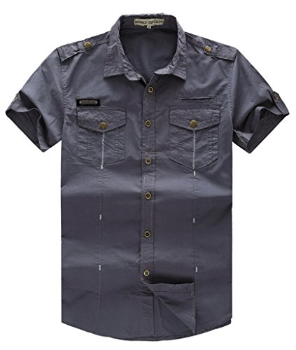 Camicia da uomo casual a maniche corte in denim con bottoni metallici gray x-large