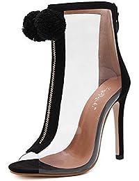 Aisun Damen Fashion Transparent Kunststoff Reissverschluss Pompon Stiletto Sommerstiefel Sandale