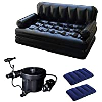 HOTCORNER Plastic Air Sofa Bed 5 in 1 Inflatable Couch with 2 Air Pillow (Black)