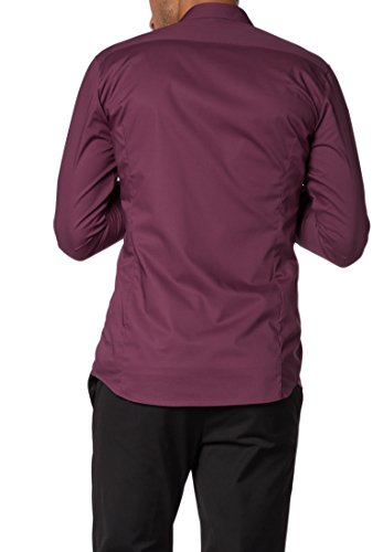 ETERNA Langarm Hemd SUPER-SLIM Stretch unifarben Bordeaux