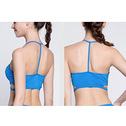 Zhhlaixing Women's Professional Athletic Bra Full Cup Breathable Yoga Bra Vest blue