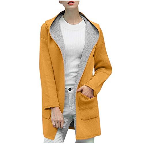 SHOBDW Große Größen Damen Oberteile Frauen Hoodie Kapuzen Parka Herbst Damen Oversize Parka Hooded Knopf Unten Jacke Cardigan Blazer Mantel Outwear