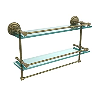 Allied Precision Industries 22 Inch Gallery Double Glass Shelf with Towel Bar, Antique Brass, 22