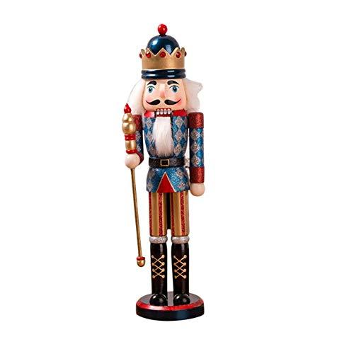 Puppet de madera con purpurina de 38 cm, para regalar en Navidad, muñecas de madera, juguete para niños, adornos decorativos navideños, forma de rey, azul