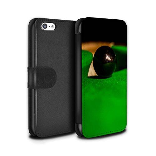 Stuff4 Coque/Etui/Housse Cuir PU Case/Cover pour Apple iPhone 5C / Boul Blanc Design / Snooker Collection Boul Noir/Poche