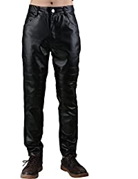 Sourcingmap Men Zipper Fly Five Pockets Pleat Knees Imitation Leather Panel Skinny Pants