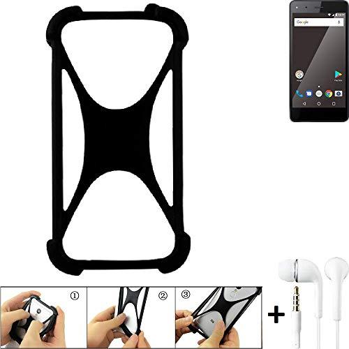K-S-Trade Handyhülle für Blaupunkt SL 01 Schutzhülle Bumper Silikon Schutz Hülle Cover Case Silikoncase Silikonbumper TPU Softcase Smartphone, schwarz (1x), Headphones