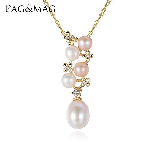 Haixin S925 argent chaine, pendentif perle naturelle chaîne longue 40 + 5 cm (réglable)