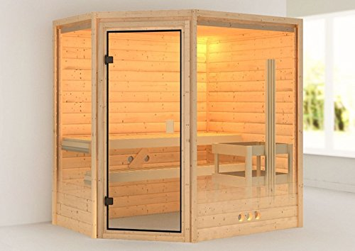 karibu sauna yassin mit dachkranz eckeinstieg f r niedrige r ume. Black Bedroom Furniture Sets. Home Design Ideas