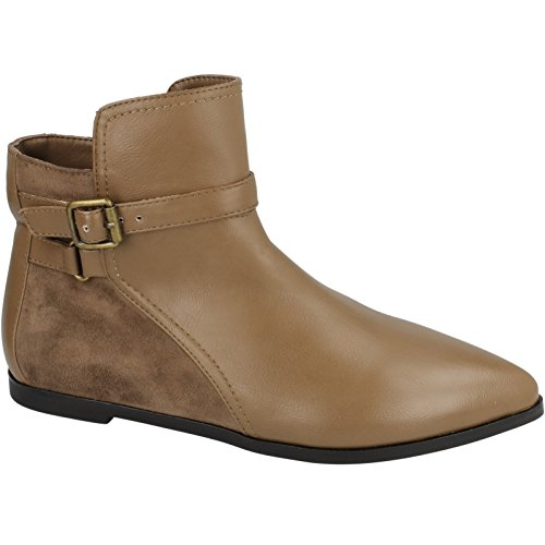 Spot On Damen Ankle Boots, flach Taupe