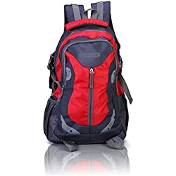 Suntop Neo 9 26 Ltrs Grey & Red Checks Medium Sized Casual Backpack