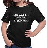 HARIZ  Mädchen T-Shirt Gamer Respawen Gamer Gaming Sprüche Zocken PC Geburtstag Plus Geschenkkarte Schwarz 140/9-11 Jahre