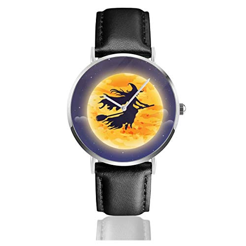 Business Analog Watches,Witch Flying On Broomstick. Halloween Classic Stainless Steel Quartz Waterproof Wrist Watch with Leather Strap