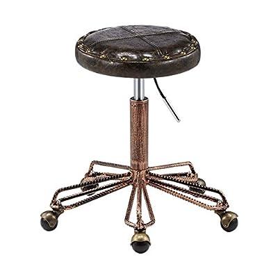 Mena Uk Taburetes industriales retro vintage con remaches y cuero de PU Taburetes giratorios de bar rotatorios de cocina de 360 grados