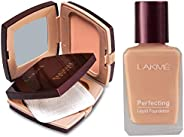 Lakme Radiance Complexion Compact, Pearl, 9g & Lakme Perfecting Liquid Foundation, Marble, 27ml