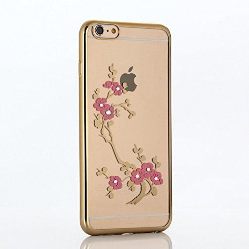 Coque Housse Etui pour iPhone 6 Plus, iPhone 6 Plus Coque en Silicone avec Bling Diamant, iPhone 6 Plus Or Coque Placage de diamant Etui Housse, iPhone 6s Plus Or Coque Gold Etui Housse avec Bling Dia Or-Plum fleur