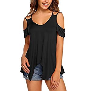 Hevoiok Sommer Kurzarm Shirt Damen große größen Fashion Einfarbige  Schulterfrei Tunika Top T-Shirt Sexy 816026fbdd