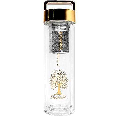 amapodo Teekanne Glas 400ml doppelwandig mit Edelstahl Tee Sieb & Deckel gold - Teeflasche, Teebereiter, Trinkflasche