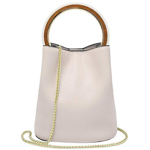 Damen Leder Circular Chain Strap Taschen Mode Reine Farbe Schultertasche Metall Sets Lady Taschen Kaufen Im Freien,White1-16 * 20 * 22CM