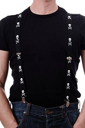 DRESS ME UP - Halloween Karneval Hosenträger Suspenders Schwarz weiße Totenköpfe Punk Rockabilly Goth (Hosenträger Halloween)