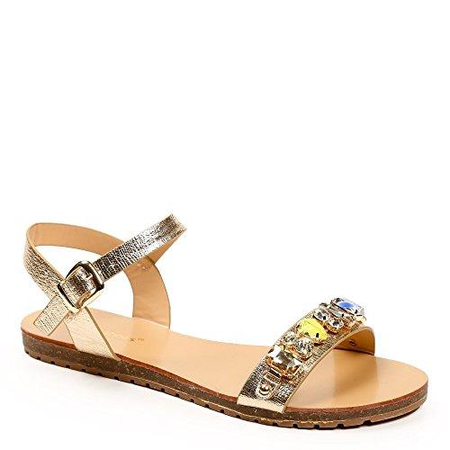 Ideal-Shoes Sandali piani, effetto glitterato, con cordoncino, motivo strass Vaea Oro (Oro)