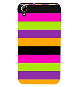 Fiobs Designer Phone Back Case Cover HTC Desire 828 Dual Sim ( Colorful Green Pink Purple Pattern Design )