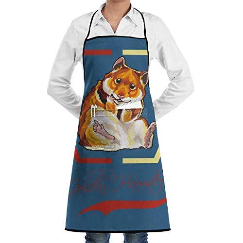 QIAOJI Unisex Kochschürze mit Tasche Golden Hamster Cartoon Bib Schürze Küchenschürze Verstellbare extra Lange Bänder für BBQ Backen und Kochen schwarz -