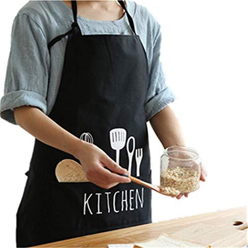 YoHom Tablier réglable avec 1 poches Cuisine Cuisine Tabliers pour femmes Hommes Chef, Noir
