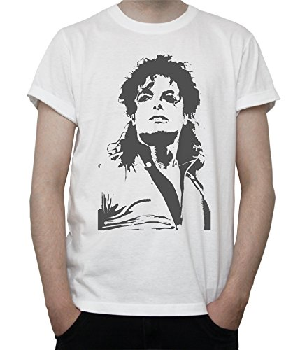 Michael Jackson Fan Art Black and White Graphics Mens T-Shirt Large