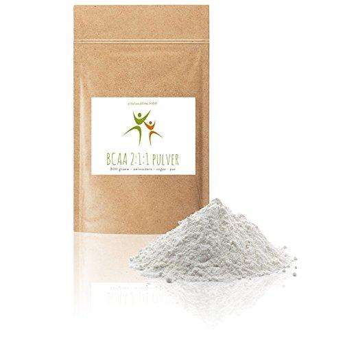 BCAA 2:1:1 Pulver - 300 g - verzweigtkettige Aminosäure - Spitzenqualität - bei sportlichen Langzeitbelastungen - fein gemahlen - 100% vegan und rein - glutenfrei, laktosefrei – OHNE Zusatzstoffe