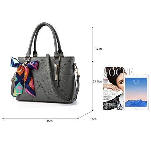 Tisdaini Borse del sacchetto del messaggero della spalla della borsa di modo dell'unità di elaborazione di modo della borsa delle signore grigio