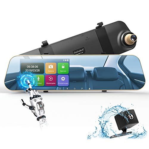 DuDuBell Dashcam Autokamera 1080P Rückspiegel Monitor mit Rückfahrkamera Dual Lens 4,3