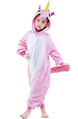Kreative 3D Einhorn Pyjama Nachtwäsche Cosplay Kostüm Unicorn Schlafanzüge Für Jungen Mädchen (116-125cm, Rosa 2)
