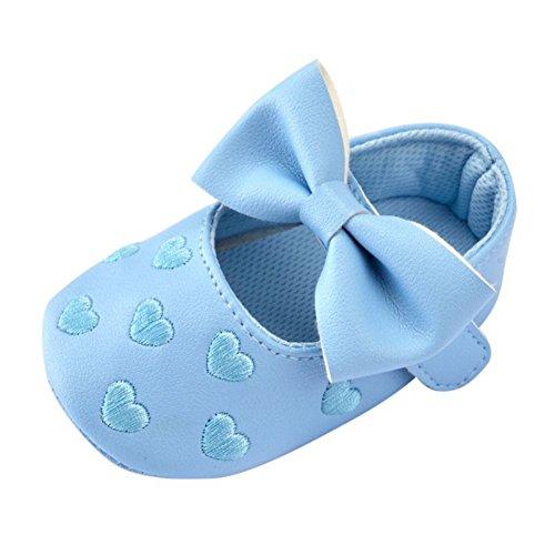 Brightup Baby Mädchen Prewalker Sweet Love Herz Bowknot Anti-Rutsch Soft Sole Leder Schuhe Blau