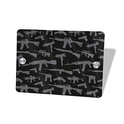 Iop 90p Gewehr-Muster-quadratisches Tür-Zeichen-dekorative Zeichen-Plaketten-Türschild -