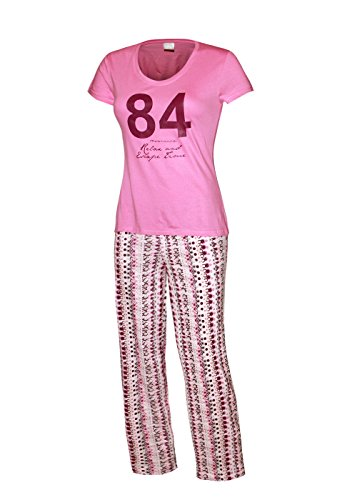 Pyjama Damen lang Damen Schlafanzug lang aus 100% Baumwolle pink kurzarm / hose lang