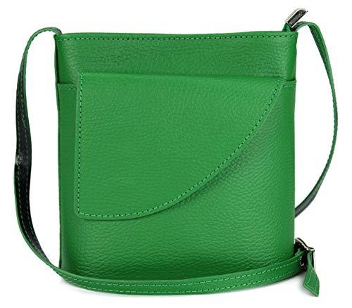 Belli ital. Ledertasche Damen Umhängetasche Handtasche Schultertasche mit zusätzlichem Klappfach in grün - 18,5x18,5x7cm (B x H x T) - Grün Leder-clutch