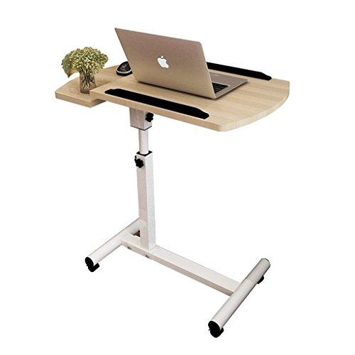 Schreibtisch DH® Computer Nachttisch Kann Gefaltet Werden, Nachttisch Notebook-Tisch Höhenverstellbar Holz-basierten Panel Haus Tisch Mit Roller 64x40x66.5-96.5cm