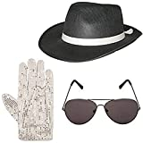 Hi Fashionz Deluxe Occhiali da cappello gangster e guanti con paillettes Set costume fancy dress anni '20 (set 3 pezzi) Taglia unica