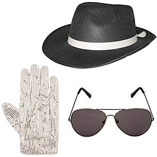 Hi Fashionz Deluxe Gangster Hut Brille und Pailletten Handschuhe Set 1920er Jahre Kost�m (3 St�ck Set) Einheitsgr��e