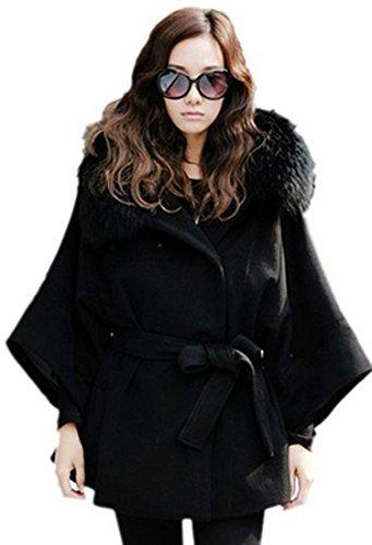 CRAVOG Damen Frauen Double Breasted Batwing Cape Poncho Coat Pullover Jacke Pelzkragen, Groesse M-XL (Blazer Double-breasted)