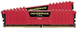 Corsair CMK8GX4M2A2666C16R Vengeance LPX 8 GB (2 x 4 GB) DDR4 2666 MHz C16 XMP 2.0 High Performance Desktop Memory Kit, Red