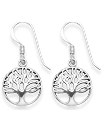 Sterling Silver Tree of Life drop earrings - Size: 13mm 6097 . Antiqued finish (oxidized). Gift Boxed - 6097 B41HN