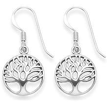 Pendientes de plata de ley del árbol de la vida. Tamaño: 12 mm Caja de regalo - 6097