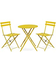 Alice's Garden - Salon de jardin bistrot pliable - Emilia rond jaune - Table ronde Ø60cm avec deux chaises pliantes, acier thermolaqué, chaises avec lames incurvées pour plus de confort