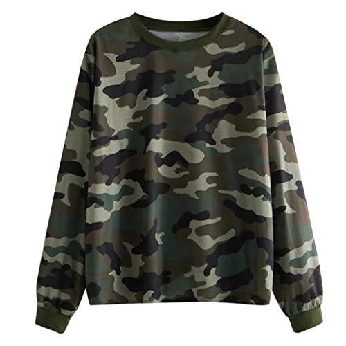 GOKOMO Autumn Women\'s Camouflage Printing Sweatshirt Pullover Tops Blouse Casual Sport Sweater Autumn Long T-Shirt(Grün,X-Large)